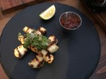 Grilled halloumi with tomato jam