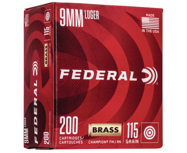 Federal Champion Training Brass 9mm 115 Grain 200-Rounds FMJ