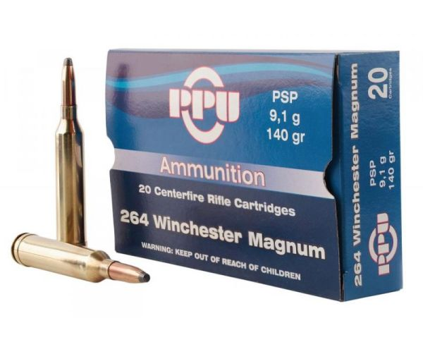 PPU PP264 Rifle Ammo 140 Grain 264 Win Mag 20 Rounds Soft Point