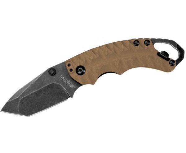 "Kershaw Shuffle II Tan Folding Knife - 2.375"" Plain Tanto Blade with Bottle Opener"