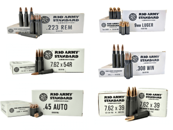 White Box Ammo from Red Army Standard. This range ammo will come in multiple calibers to include 7.62x39, 7.62x54R, 9mm, .45 Auto, .223 Remington, and .308 Winchester.
