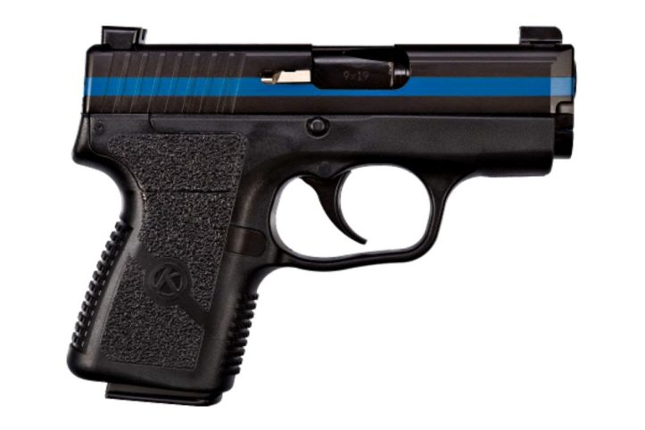 """Kahr Arms donates a Thin Blue Line PM9 with fallen officer name, badge number, and """"end of watch"""" date to raise funds for family or kept as a keepsake."""