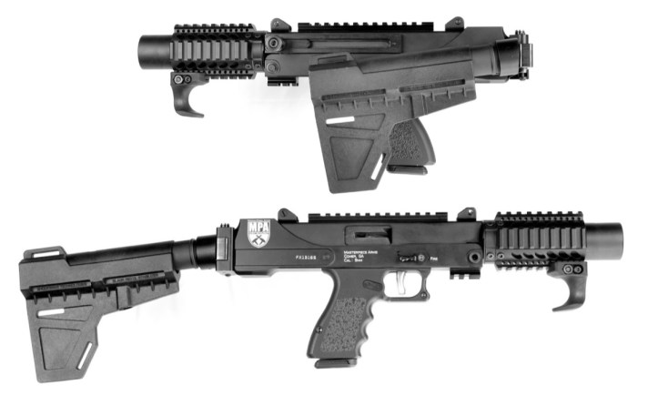 """In the folded position,the MPA35DMG 9mm Pistol with Arm Brace measures 16,"""" while at full length (non-folded) it measures 23.75."""""""