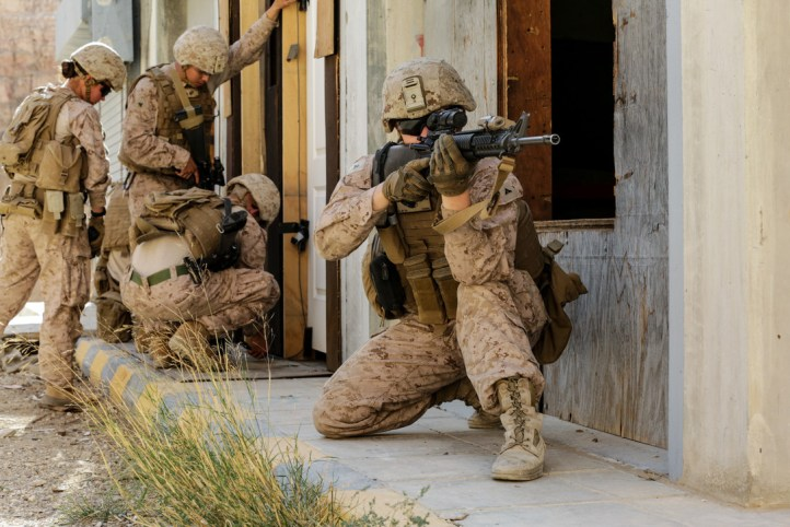 Exercise Cunning Seahorse - US Marines wearing MARPAT camouflage.