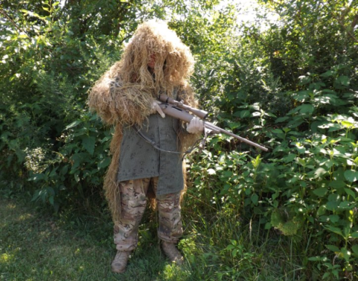 ghillie suit top on a sniper