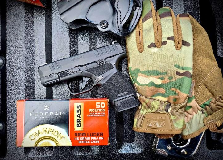Springfield Hellcat 9mm micro-compact pistol Federal Champion ammunition Mechanix Gloves