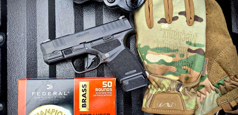 Springfield Hellcat 9mm micro-compact pistol Federal Champion ammunition Mechanix Gloves