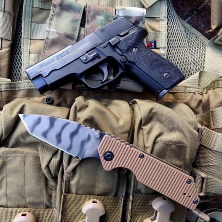 Strider GB Knive review, next to Sig P228