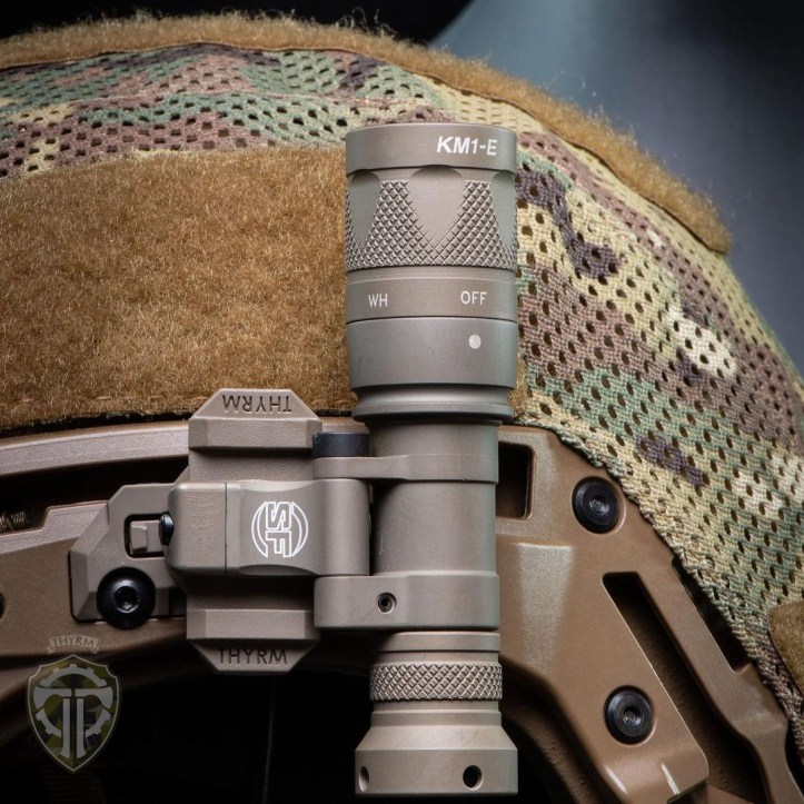A Tactical light mounted to a Team Wendy helmet.