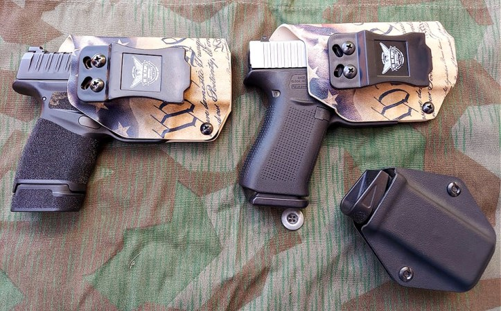 We the People Holsters, triggers covered on Springfield Hellcat and Glock 43X.