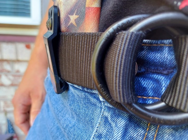 We the People holster clip secured to belt in appendix carry.