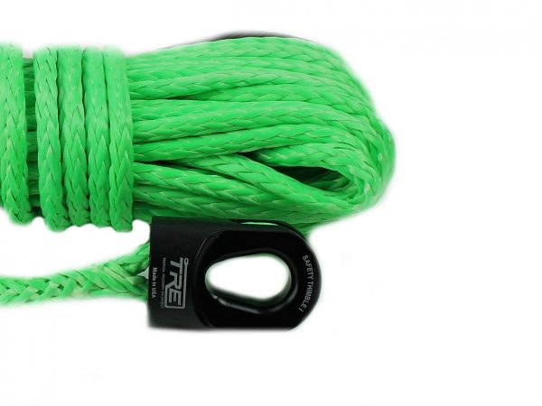 """1/4"""" Lime Green Winch Rope & Safety Thimble"""