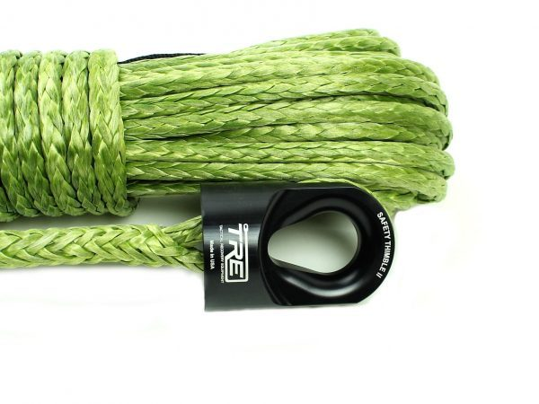 """3/8"""" Military Green Winch Rope & Safety Thimble"""