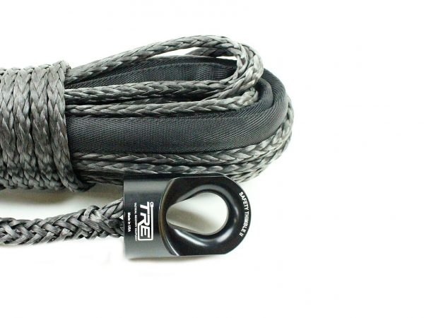 """7/16"""" Black Winch Rope & Safety Thimble"""