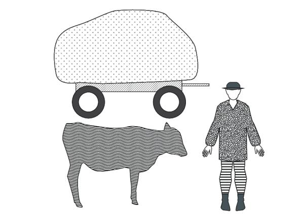 Țăran român cu car și bou