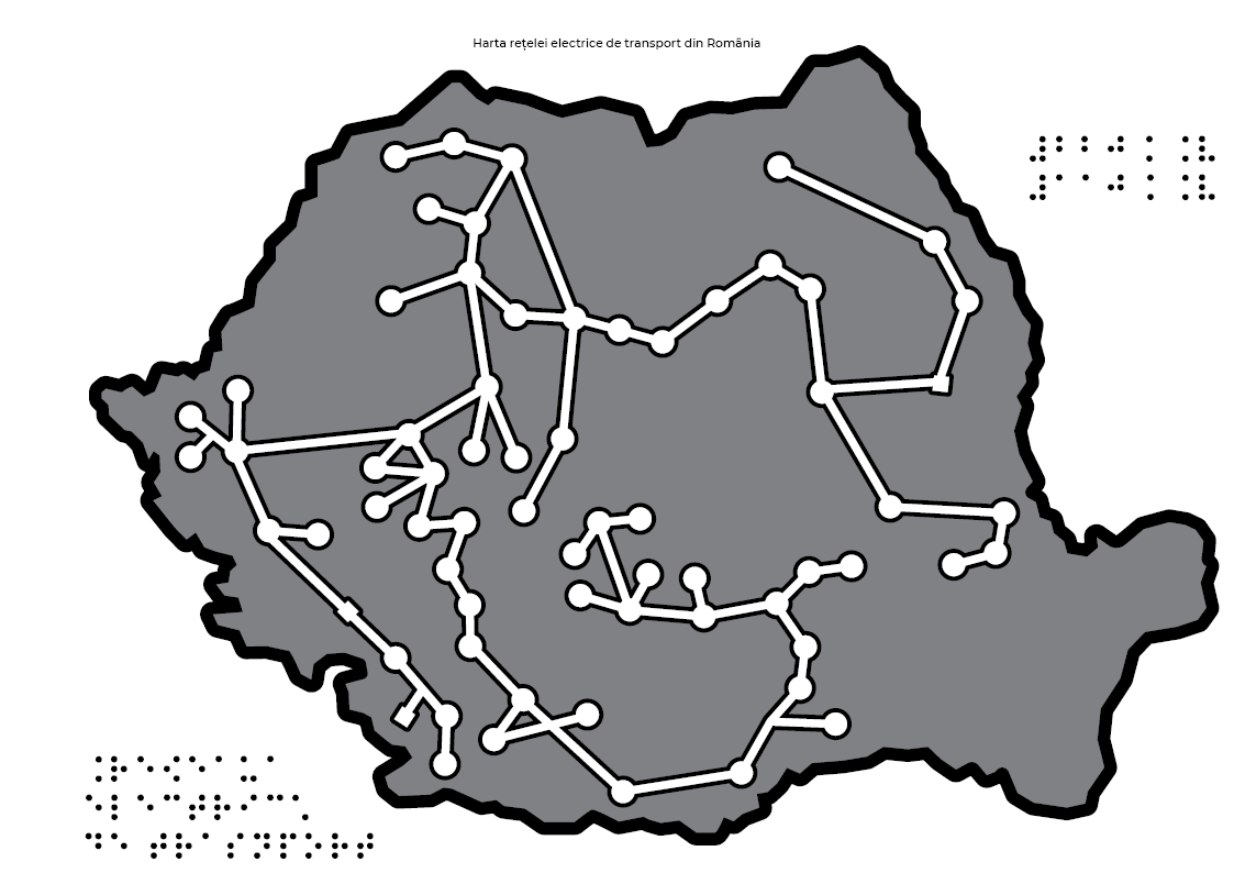 Map of the electric transmission network in Romania
