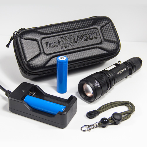 LM500 DUO Power Tactical Flashlight Kit - Dual 18650 Charger and Two Batteries for double the power all day and night long