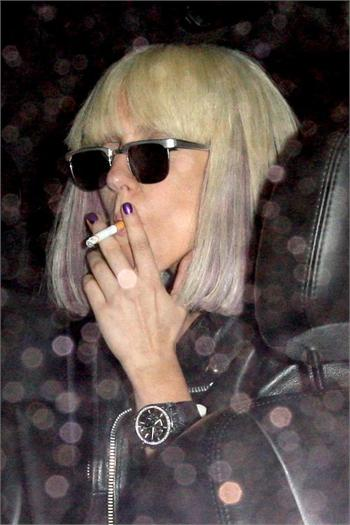 Lady Gaga spotted smoking