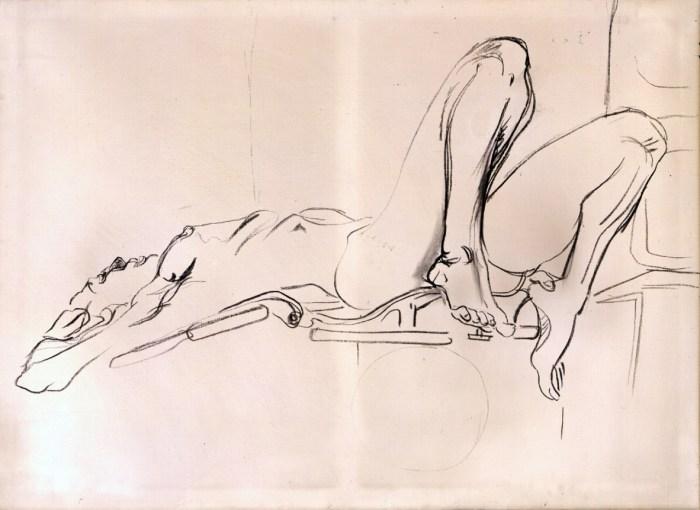 1973 01 02 Broardway Burleske Kohle auf Leinwand 95x130 cm