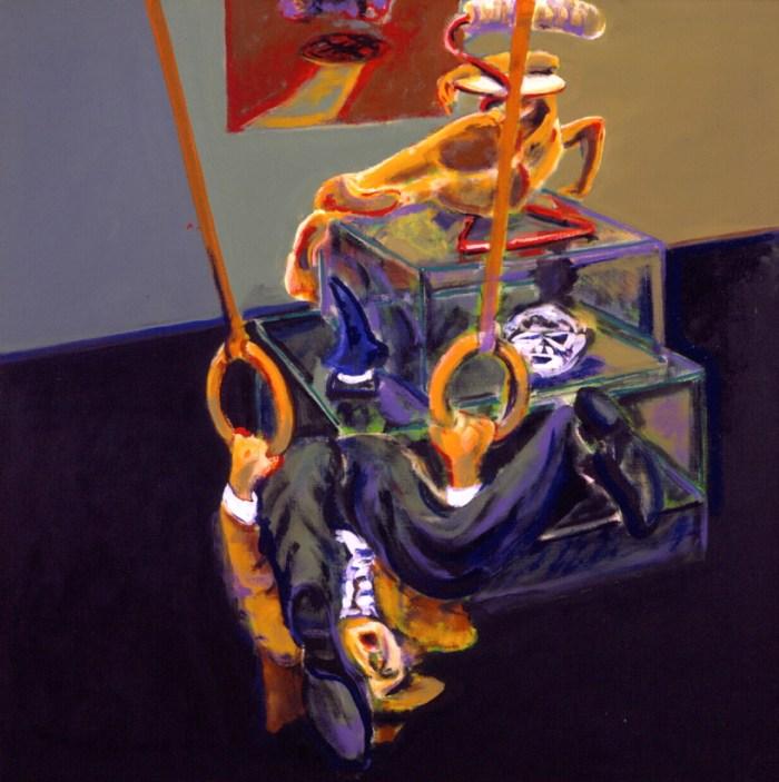 1987 13 01 Selbst hängend mit Hut Öl auf Leinwand 130x130 cm
