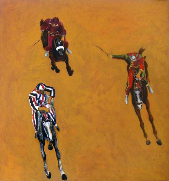 1996 01 17 Cavalli Triptychon 1 Acryl Lwd. 206x192 1