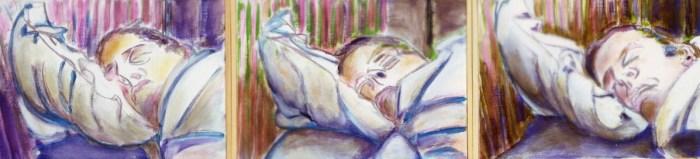 2003 16 1 3 Schlaf I III Acryl auf Leinwand je 31x42 cm