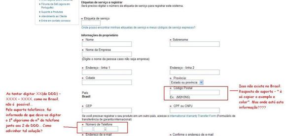 Formulário para registro de produto no site da Dell