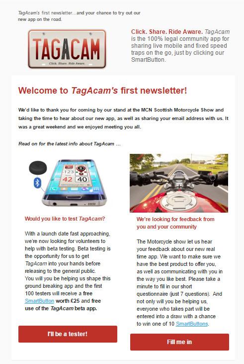 TagAcam's first newsletter