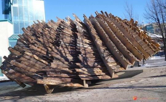 wood slat warming hut