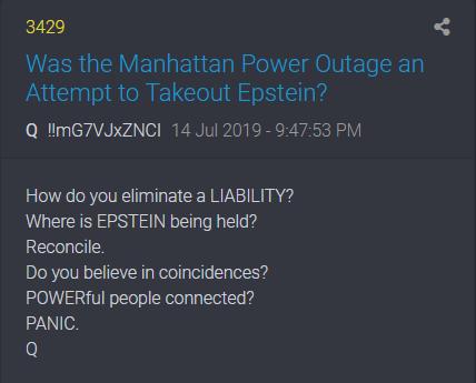 3429 QAnon deutet an, dass der Stromausfall in Manhatten ein Versuch war, Epstein zu beseitigen
