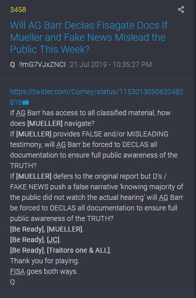3458 QAnon - Wenn Mueller falsch spielt, wird Barr sofort FISA veröffentlichen