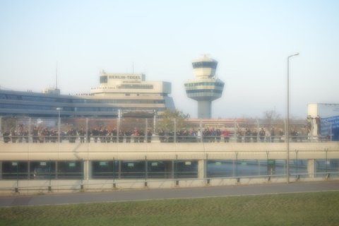 Farewell to Tegel with Many Hundreds of onlookers standing at the edge of the runway.