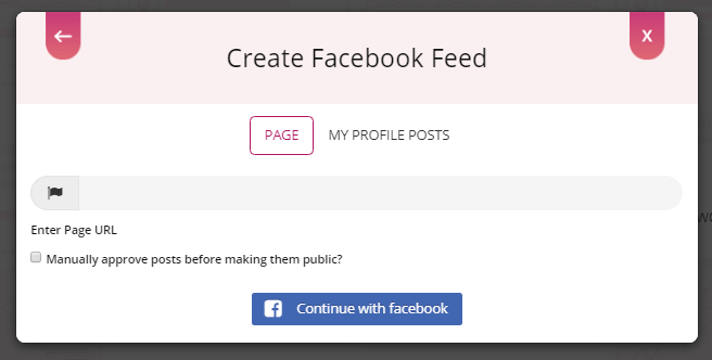 select facebook page to embed facebook feeds