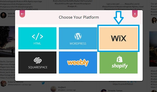Choose embed platform Wix