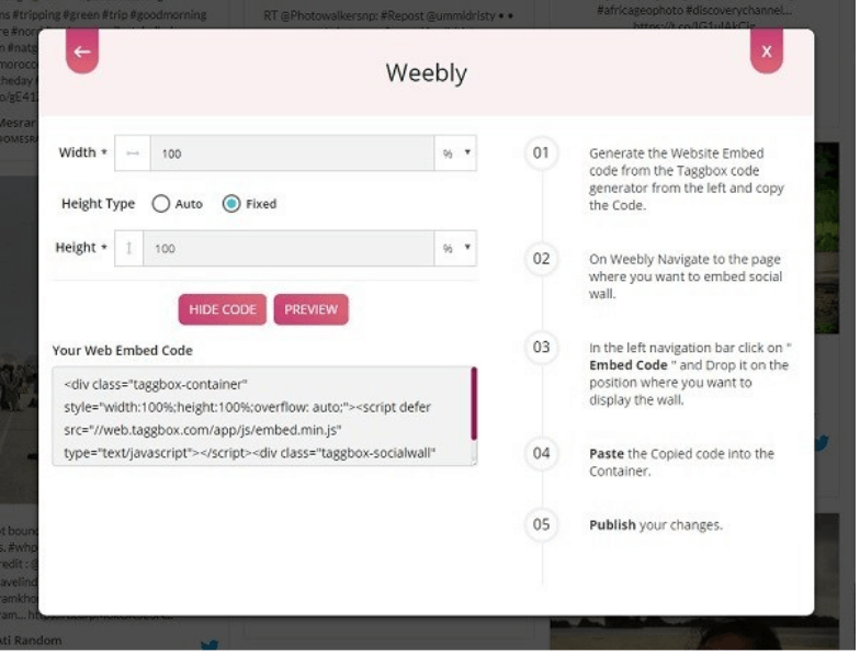 Generate Embed Code For Weebly