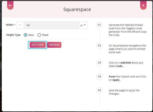 Generate social wall code for Squarespace