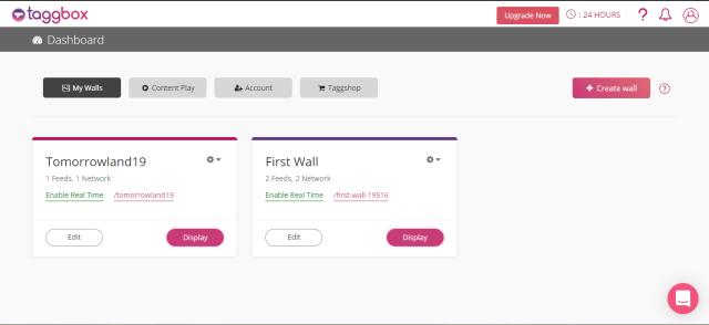 Taggbox Social Wall Dashboard