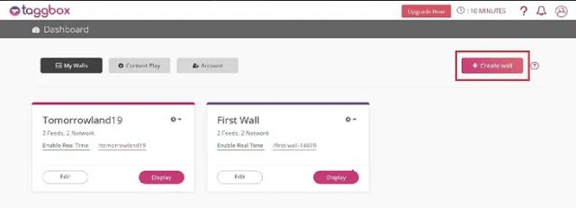 Taggbox Social Wall Dashboard create wall
