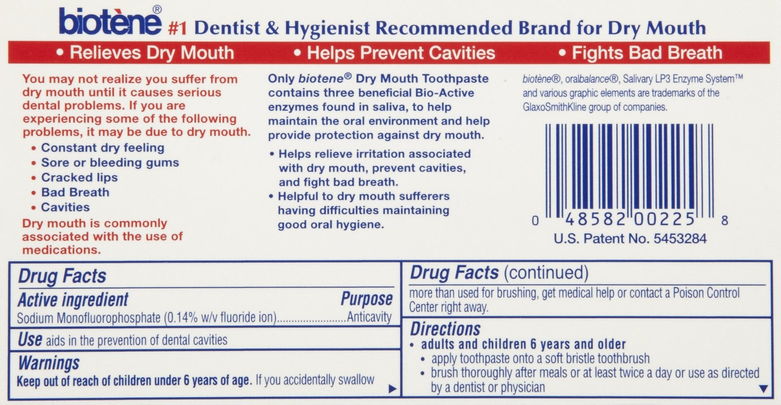 Biotene Antibacterial Dry Mouth Mint Toothpaste Mint 0 75