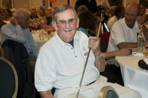 Emmett Forrest holding one of George Lindsey's golf putters (a donation for the Andy Griffith Museum) at the Mayberry Days Golf Tournament, renamed this year in Emmett's memory.