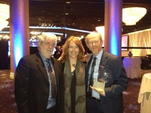 Ron Howard tweeted this photo of himself with wife Cheryl and George Lucas at the TV Hall of Fame ceremony.  (By the way, Ron is a fun choice to follow on Twitter.  Look for him at @RealRonHoward._