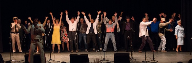 The finale of Colonel Tim's Talent Time at Mayberry Days 2012. Amid the Mayberry (and Elvis) tribute artists, see if you can spot actual TAGS cast members and two children of cast members.  Photo by Hobart Jones.