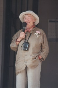 Mary Grace (properly adorned) speaking to the crowd at the Mayberry Squad Car Rendezvous in Bradford, Ohio, in 1997. Photo by Bart Boatwright.