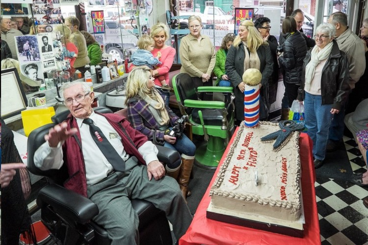 Russell Hiatt, America's Barber,  celebrates his 90th Birthday (January 28) with friends at his Floyd's City Barber Shop in Mount Airy.  Photo by Hobart Jones.