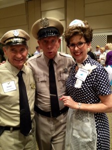 David Browning (center) is seeing double at an event at Bellevue Baptist Church in Cordova, Tenn., in April with fellow Mayberry-ish deputy Carmon Phillips. Carmon has the distinct advantage in capturing the affections of this Juanita, though, because she's the alter ego of Candy, aka Mrs. Carmon Phillips.