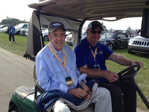 Jim Nabors riding Golf Cart Express to the grand stand at the Indy 500 on Sunday.