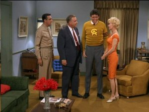 "Med Flory's Monroe Efford was Gomer's formidable rival for Lou Ann Poovie's affections in this scene from ""The Return of Monroe.""  Pictured here along with Med, Jim Nabors and Elizabeth MacRae is Tol Avery (aka Ben Weaver No. 2) as Lou Ann's father."
