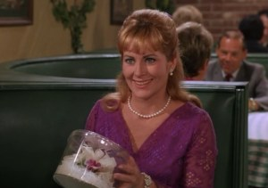 Nancy as Edith Gibson, receiving her corsage from Goober.