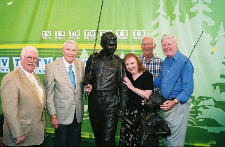 Best Moment--Jimmie Best (far right) at the TV Land Statue dedication at Mayberry Days 2004, with (l-r) George Spence, Andy Griffith, Betty Lynn and LeRoy McNees. Photo by Hobart Jones.