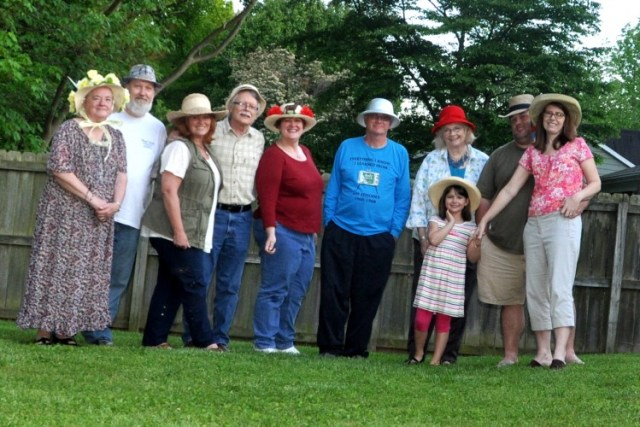 Members of Barney Chapter are ready to place their bets at their Kentucky Derby-themed chapter party on May 2. (Reports are that one of the behatted was later seen walking around in treetops with his 12 extra hands and with smoke coming out his ears.)